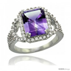 14k White Gold Natural Amethyst Ring 10x8 mm Emerald Shape Diamond Halo, 1/2inch wide