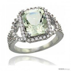 14k White Gold Natural Green Amethyst Ring 10x8 mm Emerald Shape Diamond Halo, 1/2inch wide