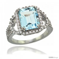 14k White Gold Sky Blue Topaz Halo Engagement Ring 3.10 Carats Emerald Cut Stone 0.41 cttw Diamonds, 1/2inch.