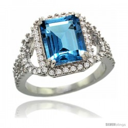 14k White Gold Natural Swiss Blue Topaz Ring 10x8 mm Emerald Shape Diamond Halo, 1/2inch wide