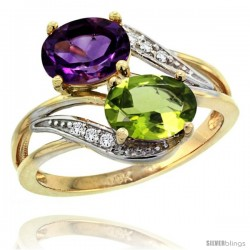 14k Gold ( 8x6 mm ) Double Stone Engagement Amethyst & Peridot Ring w/ 0.07 Carat Brilliant Cut Diamonds & 2.34 Carats Oval Cut