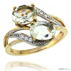14k Gold ( 8x6 mm ) Double Stone Engagement Green Amethyst Ring w/ 0.07 Carat Brilliant Cut Diamonds & 2.34 Carats Oval Cut