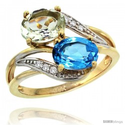 14k Gold ( 8x6 mm ) Double Stone Engagement Green Amethyst & Swiss Blue Topaz Ring w/ 0.07 Carat Brilliant Cut Diamonds & 2.34