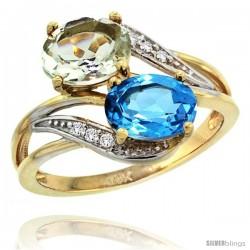 14k Gold ( 8x6 mm ) Double Stone Engagement Green Amethyst & Swiss Blue Topaz Ring w/ 0.07 Carat Brilliant Cut Diamonds & 2.34