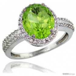Sterling Silver Diamond Natural Peridot Ring Oval Stone 10x8 mm 2.4 ct 1/2 in wide