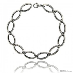 Stainless Steel Small Oval Links Bracelet, 3/8 in wide, 8.25 in
