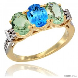 10K Yellow Gold Natural Swiss Blue Topaz & Green Amethyst Sides Ring 3-Stone Oval 7x5 mm Diamond Accent