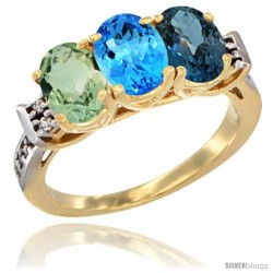 10K Yellow Gold Natural Green Amethyst, Swiss Blue Topaz & London Blue Topaz Ring 3-Stone Oval 7x5 mm Diamond Accent