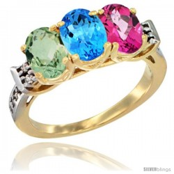 10K Yellow Gold Natural Green Amethyst, Swiss Blue Topaz & Pink Topaz Ring 3-Stone Oval 7x5 mm Diamond Accent