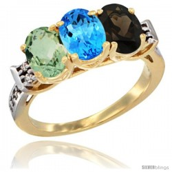 10K Yellow Gold Natural Green Amethyst, Swiss Blue Topaz & Smoky Topaz Ring 3-Stone Oval 7x5 mm Diamond Accent