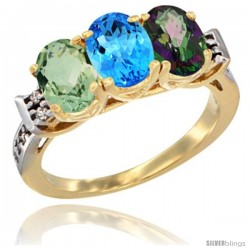 10K Yellow Gold Natural Green Amethyst, Swiss Blue Topaz & Mystic Topaz Ring 3-Stone Oval 7x5 mm Diamond Accent