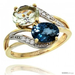 14k Gold ( 8x6 mm ) Double Stone Engagement Green Amethyst & London Blue Topaz Ring w/ 0.07 Carat Brilliant Cut Diamonds & 2.34