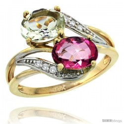 14k Gold ( 8x6 mm ) Double Stone Engagement Green Amethyst & Pink Topaz Ring w/ 0.07 Carat Brilliant Cut Diamonds & 2.34 Carats