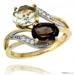14k Gold ( 8x6 mm ) Double Stone Engagement Green Amethyst & Smoky Topaz Ring w/ 0.07 Carat Brilliant Cut Diamonds & 2.34