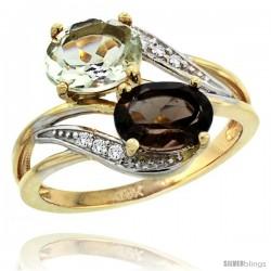 14k Gold ( 8x6 mm ) Double Stone Engagement Green Amethyst & Smoky Topaz Ring w/ 0.07 Carat Brilliant Cut Diamonds & 2.34