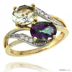 14k Gold ( 8x6 mm ) Double Stone Engagement Green Amethyst & Mystic Topaz Ring w/ 0.07 Carat Brilliant Cut Diamonds & 2.34