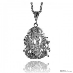 "Sterling Silver Jesus Face Pendant, 2"" (51 mm) tall"