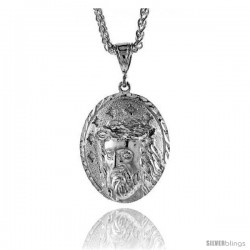 "Sterling Silver Jesus Face Pendant, 1 9/16"" (40 mm) tall -Style Pq484"