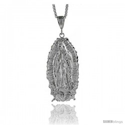 "Sterling Silver Guadalupe Pendant, 3 5/16"" (84 mm) tall"