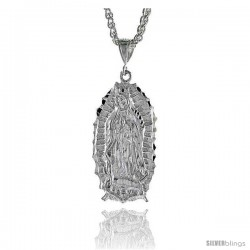 "Sterling Silver Guadalupe Pendant, 1 15/16"" (49 mm) tall"