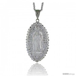 "Sterling Silver Guadalupe Pendant, 2 15/16"" (75 mm) tall -Style Pq490"