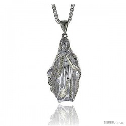 "Sterling Silver Mother Mary Pendant, 2 3/16"" (55 mm) tall"