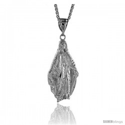 "Sterling Silver Mother Mary Pendant, 2 11/16"" (69 mm) tall"