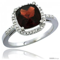 14k White Gold Ladies Natural Garnet Ring Cushion-cut 3.8 ct. 8x8 Stone Diamond Accent