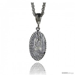 "Sterling Silver Guadalupe Pendant, 1 3/8"" (35 mm) tall"