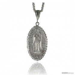 "Sterling Silver Guadalupe Pendant, 2 3/16"" (56 mm) tall"