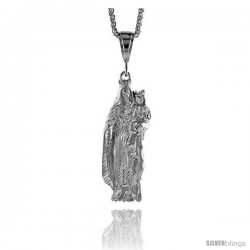 "Sterling Silver Mary and Jesus Pendant, 2 13/16"" (71 mm) tall"