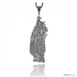 "Sterling Silver Mary and Jesus Pendant, 4 1/4"" (108 mm) tall"