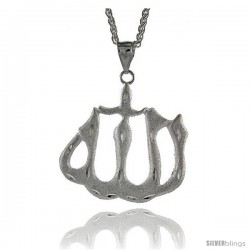 "Sterling Silver Allah Pendant, 2 1/8"" (54 mm) tall"