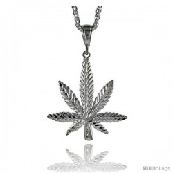 "Sterling Silver Pot Leaf Pendant, 2"" (51 mm) tall"