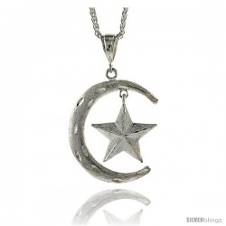 "Sterling Silver Crescent Moon and Star Pendant, 2 3/16"" (56 mm) tall"