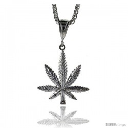"Sterling Silver Pot Leaf Pendant, 1 11/16"" (42 mm) tall"