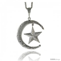 "Sterling Silver Crescent Moon and Star Pendant, 2 3/4"" (69 mm) tall"