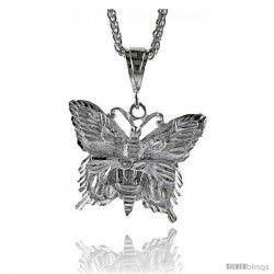 "Sterling Silver Butterfly Pendant, 1 1/2"" (38 mm) tall"