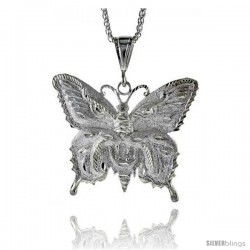"Sterling Silver Butterfly Pendant, 2 9/16"" (65 mm) tall"