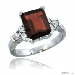 14k White Gold Ladies Natural Garnet Ring Emerald-shape 9x7 Stone Diamond Accent
