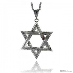 "Sterling Silver Star of David Pendant, 2 11/16"" (69 mm) tall"
