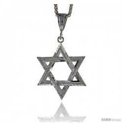 "Sterling Silver Star of David Pendant, 2 3/16"" (55 mm) tall"