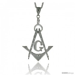 "Sterling Silver Masonry Pendant, 3 7/16"" (88 mm) tall"