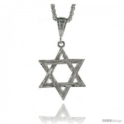 "Sterling Silver Star of David Pendant, 1 5/8"" (42 mm) tall"