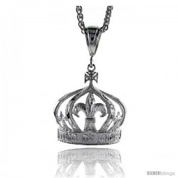 "Sterling Silver Crown Pendant, 1 1/2"" (38 mm) tall"