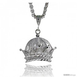 "Sterling Silver Crown Pendant, 1"" (25 mm) tall"
