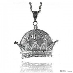 """Sterling Silver Crown Pendant, 2 1/8"""" (54 mm) tall"""