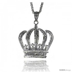 "Sterling Silver Crown Pendant, 2"" (50 mm) tall -Style Pq526"