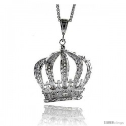 "Sterling Silver Crown Pendant, 2 1/2"" (63 mm) tall"