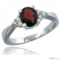 14k White Gold Ladies Natural Garnet Ring oval 7x5 Stone Diamond Accent -Style Cw410168